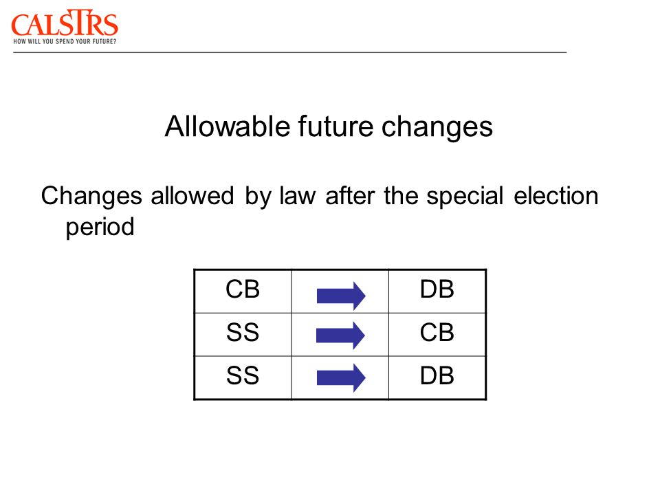 Allowable future changes Changes allowed by law after the special election period CBDB SSCB SSDB