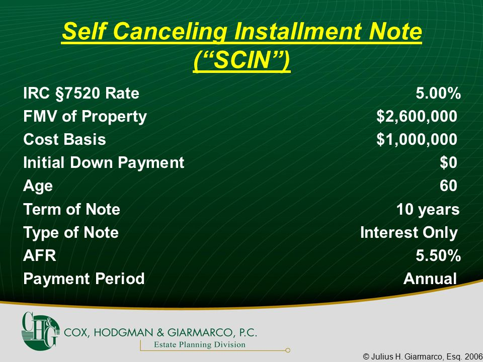 """© Julius H. Giarmarco, Esq. 2006 Self Canceling Installment Note (""""SCIN"""") IRC §7520 Rate5.00% FMV of Property$2,600,000 Cost Basis$1,000,000 Initial D"""