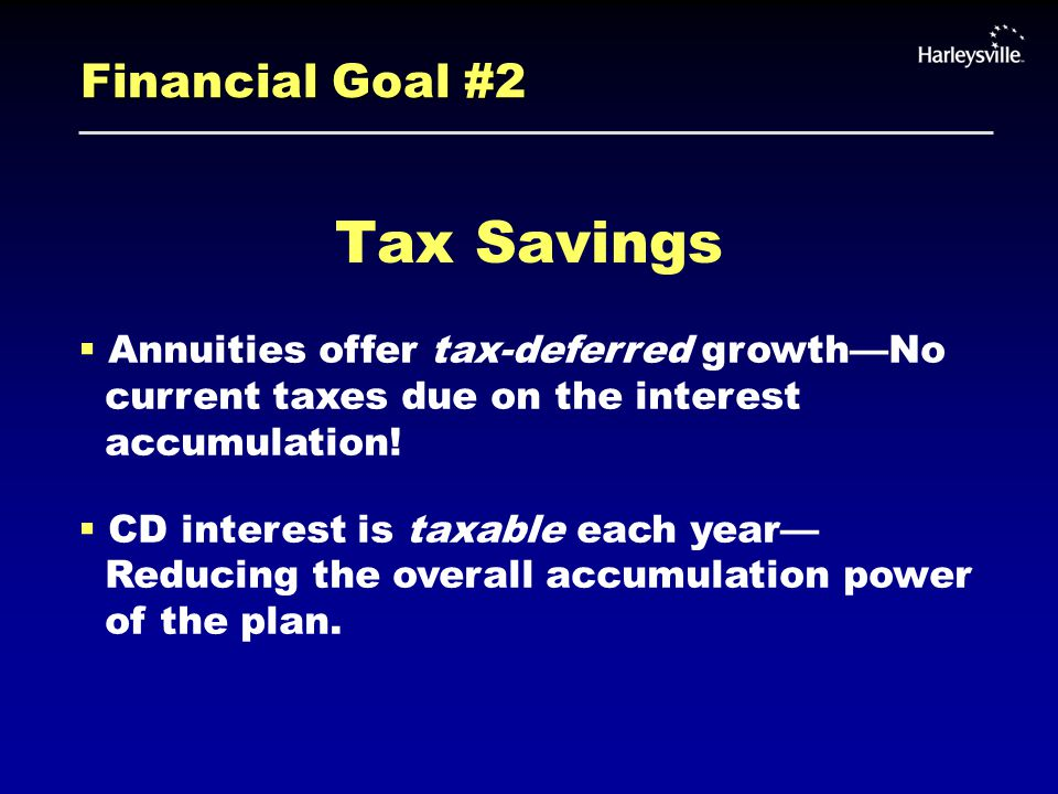 Financial Goal #2 Tax Savings  Annuities offer tax-deferred growth—No current taxes due on the interest accumulation.