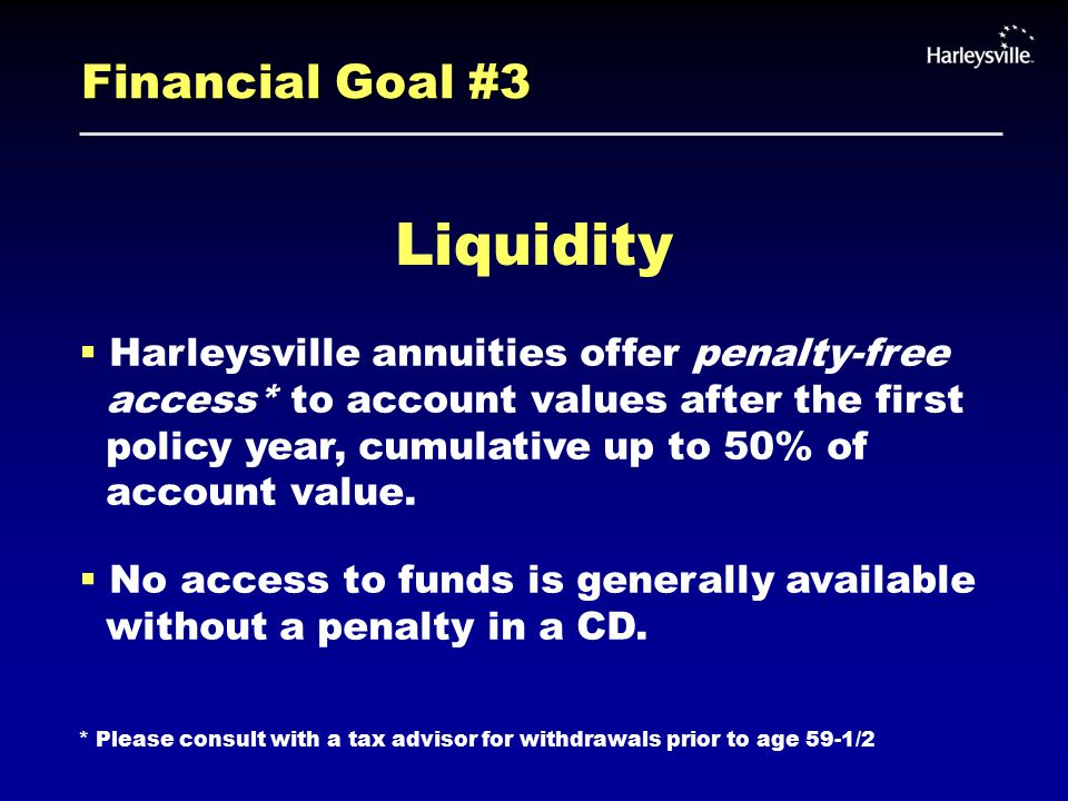 Financial Goal #3 Liquidity  Harleysville annuities offer penalty-free access* to account values after the first policy year, cumulative up to 50% of account value.