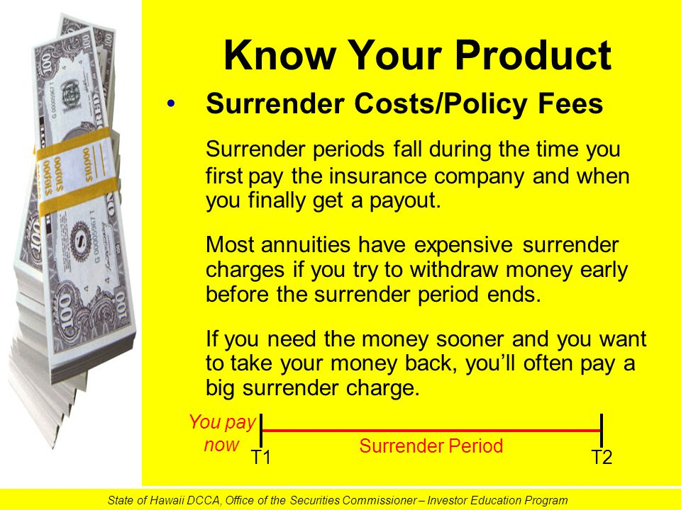 Know Your Product Surrender Costs/Policy Fees Surrender periods fall during the time you first pay the insurance company and when you finally get a pa