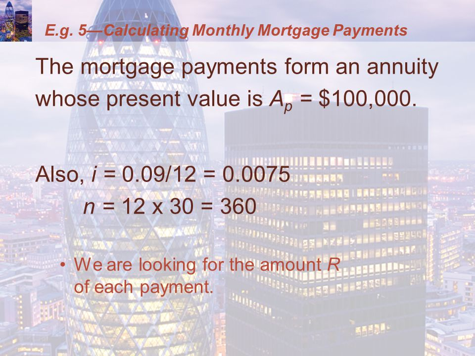 The mortgage payments form an annuity whose present value is A p = $100,000.