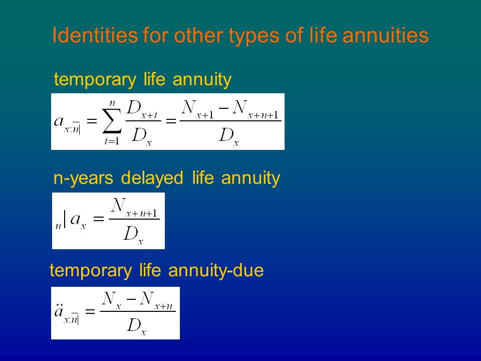 Identities for other types of life annuities temporary life annuity n-years delayed life annuity temporary life annuity-due