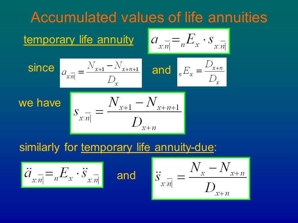 Accumulated values of life annuities temporary life annuity similarly for temporary life annuity-due: since and we have and