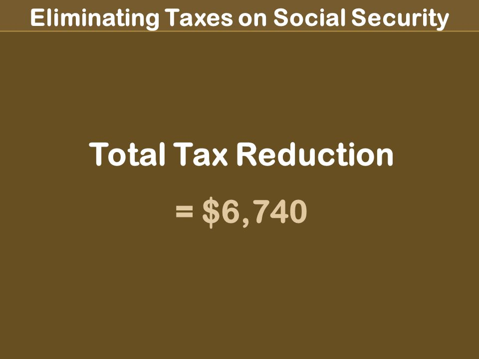 Eliminating Taxes on Social Security Adjusted Gross Income for Single Person ½ Social Security $ 5,700 Pension $18,200 Dividend Interest $ 9,500 CD Interest $ 7,500 IRA Income $ 1,000 Adjusted Gross Income = $41,900 % of Social Security Taxable: 85% Tax Bracket: 25% Tax Due: $10,475 ½ Social Security $ 5,700 Pension $18,200 Tax-Deferred $ 9,500 Tax-Deferred $ 7,500 IRA Income $ 1,000 Adjusted Gross Income = $24,900 % of Social Security Taxable: 0% Tax Bracket: 15% Tax Due: $3,735 Total Tax Reduction = $6,740