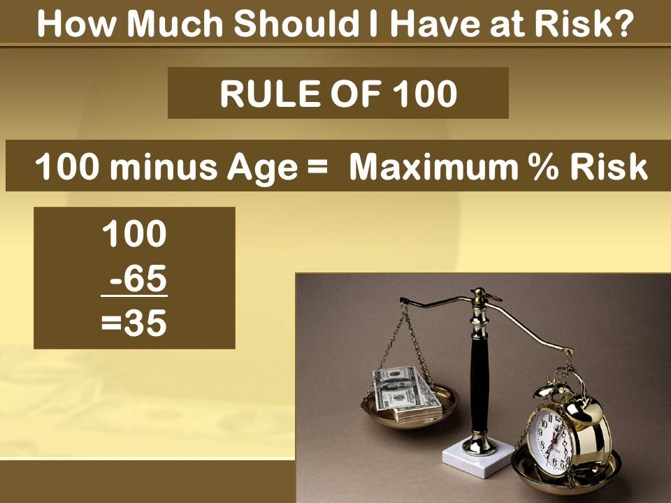 How Much Should I Have at Risk RULE OF 100 100 minus Age = Maximum % Risk 100 -65 =35