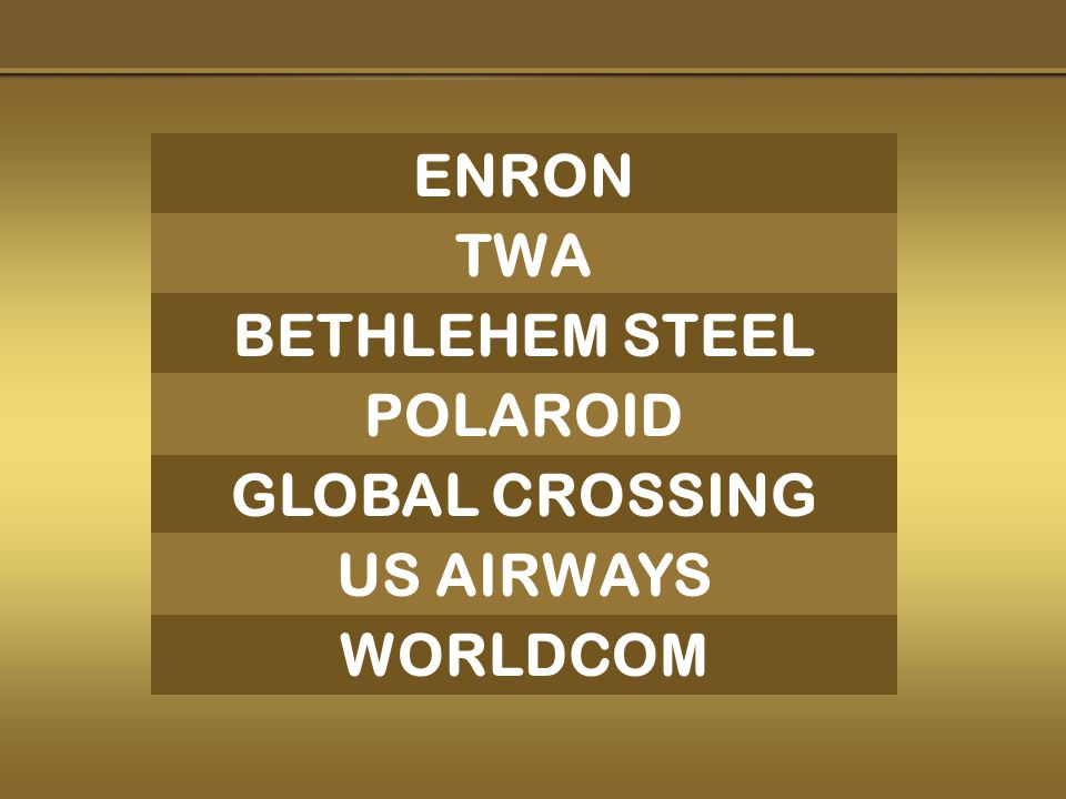 ENRON GLOBAL CROSSING WORLDCOM TWA BETHLEHEM STEEL POLAROID US AIRWAYS