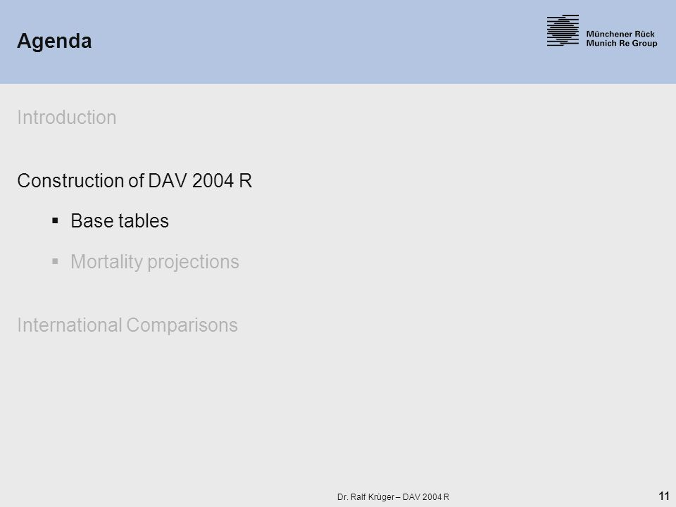 11 Dr. Ralf Krüger – DAV 2004 R Agenda Introduction Construction of DAV 2004 R  Base tables  Mortality projections International Comparisons