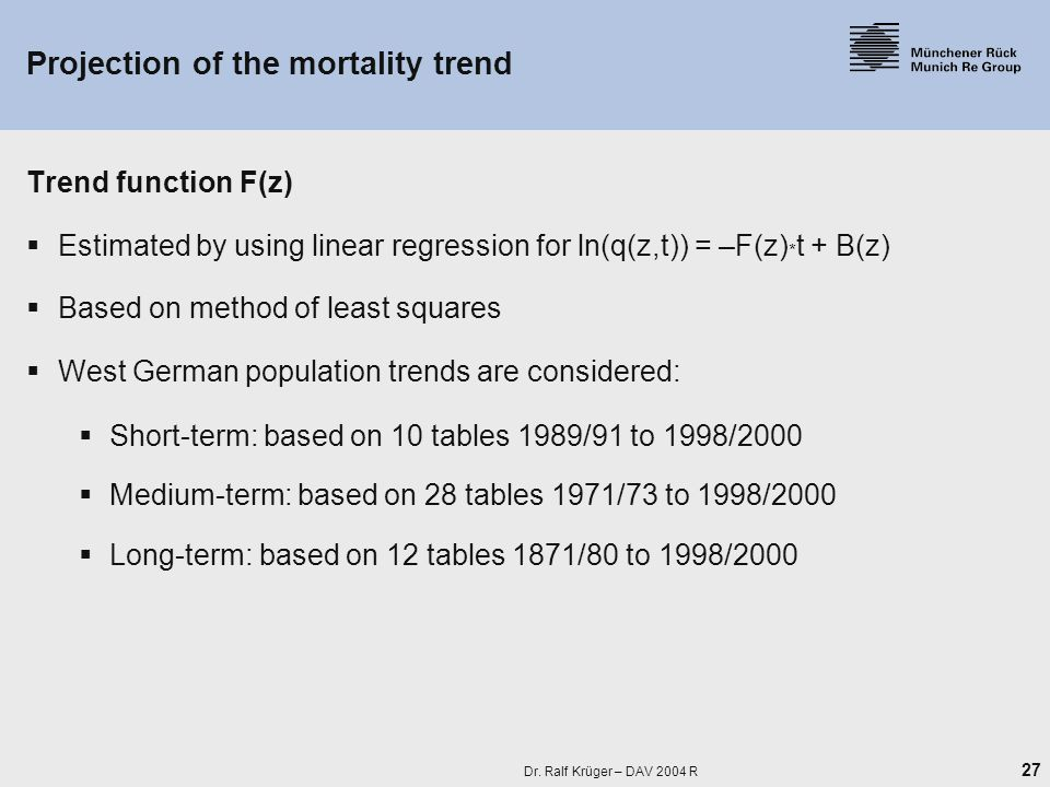 27 Dr. Ralf Krüger – DAV 2004 R Projection of the mortality trend Trend function F(z)  Estimated by using linear regression for ln(q(z,t)) = –F(z) *