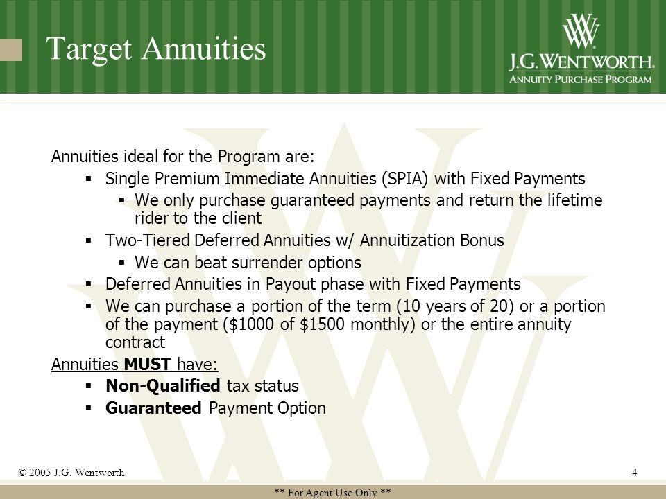 ** For Agent Use Only ** © 2005 J.G. Wentworth4 Target Annuities Annuities ideal for the Program are:  Single Premium Immediate Annuities (SPIA) with