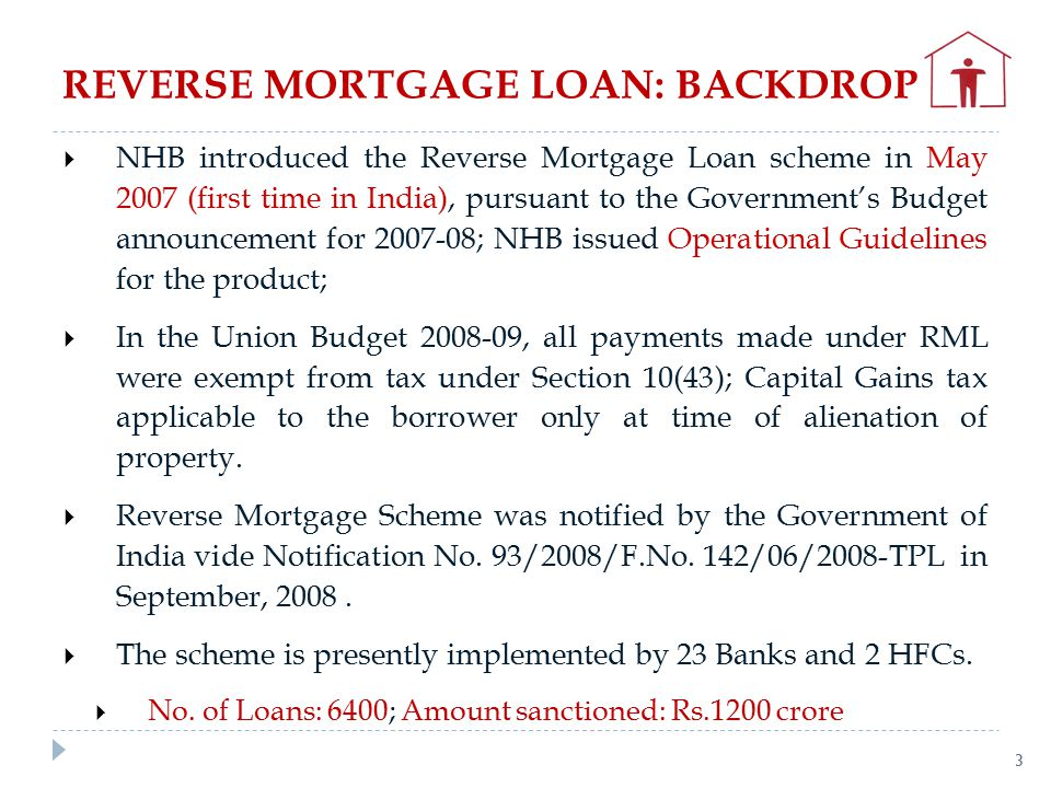  NHB introduced the Reverse Mortgage Loan scheme in May 2007 (first time in India), pursuant to the Government's Budget announcement for 2007-08; NHB issued Operational Guidelines for the product;  In the Union Budget 2008-09, all payments made under RML were exempt from tax under Section 10(43); Capital Gains tax applicable to the borrower only at time of alienation of property.