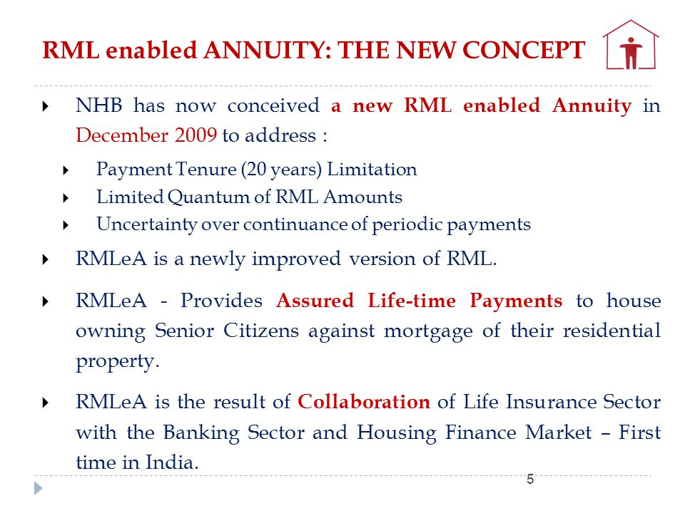 RML enabled ANNUITY: THE NEW CONCEPT 5  NHB has now conceived a new RML enabled Annuity in December 2009 to address :  Payment Tenure (20 years) Limitation  Limited Quantum of RML Amounts  Uncertainty over continuance of periodic payments  RMLeA is a newly improved version of RML.