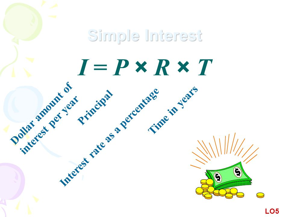 Simple Interest I = P × R × T Principal Dollar amount of interest per year Time in years Interest rate as a percentage LO5