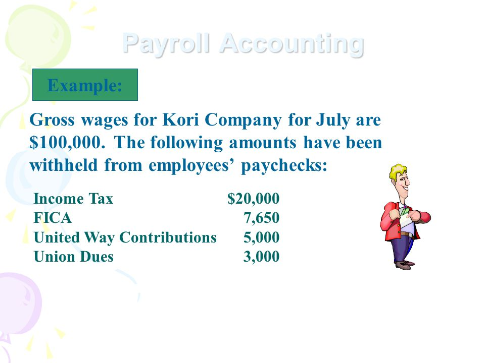 Payroll Accounting Example: Gross wages for Kori Company for July are $100,000.