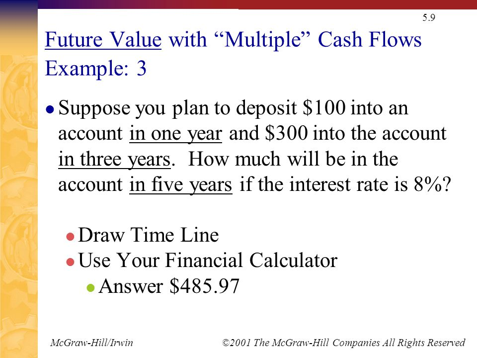 McGraw-Hill/Irwin ©2001 The McGraw-Hill Companies All Rights Reserved 5.9 Future Value with Multiple Cash Flows Example: 3 Suppose you plan to deposit $100 into an account in one year and $300 into the account in three years.