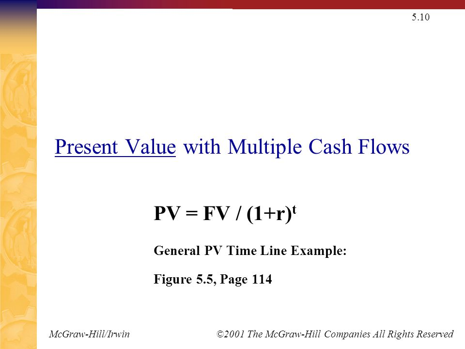 McGraw-Hill/Irwin ©2001 The McGraw-Hill Companies All Rights Reserved 5.10 Present Value with Multiple Cash Flows PV = FV / (1+r) t General PV Time Li