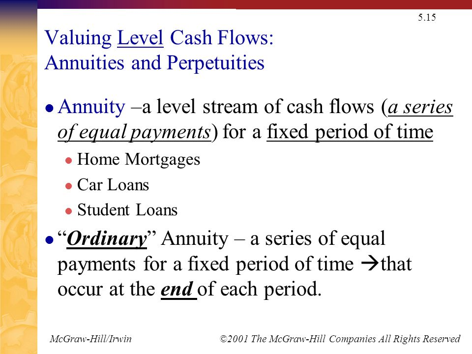 McGraw-Hill/Irwin ©2001 The McGraw-Hill Companies All Rights Reserved 5.15 Valuing Level Cash Flows: Annuities and Perpetuities Annuity –a level stream of cash flows (a series of equal payments) for a fixed period of time Home Mortgages Car Loans Student Loans Ordinary Annuity – a series of equal payments for a fixed period of time  that occur at the end of each period.