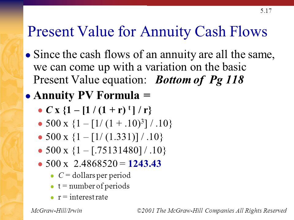 McGraw-Hill/Irwin ©2001 The McGraw-Hill Companies All Rights Reserved 5.17 Present Value for Annuity Cash Flows Since the cash flows of an annuity are