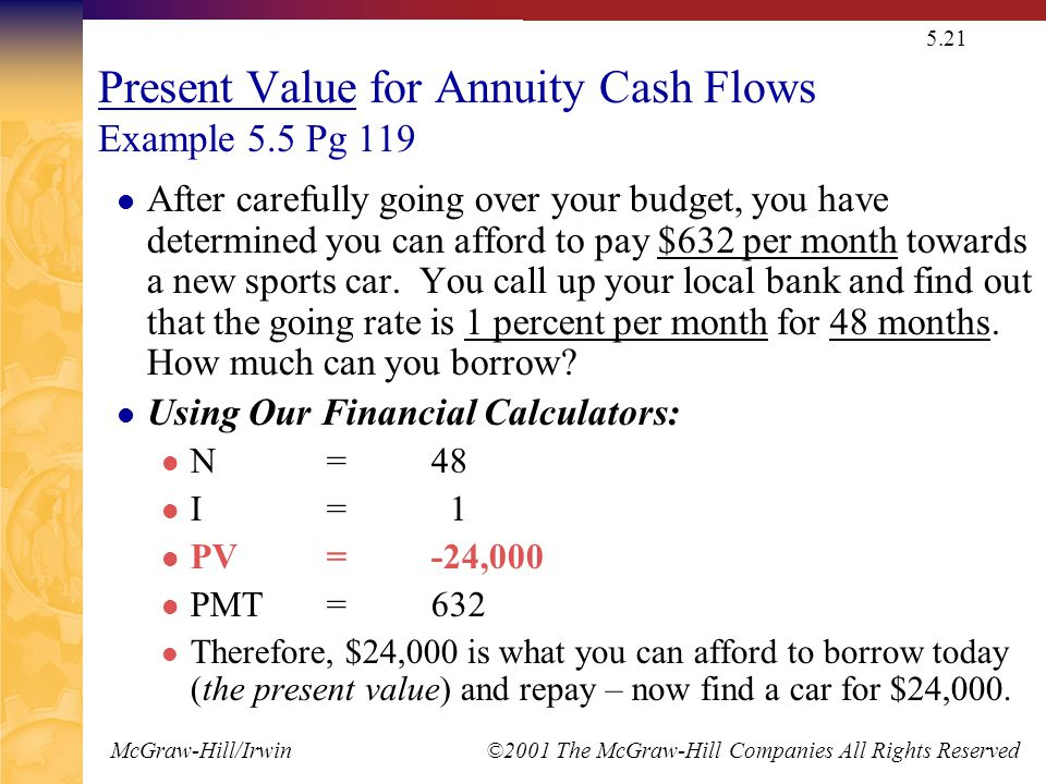 McGraw-Hill/Irwin ©2001 The McGraw-Hill Companies All Rights Reserved 5.21 Present Value for Annuity Cash Flows Example 5.5 Pg 119 After carefully goi