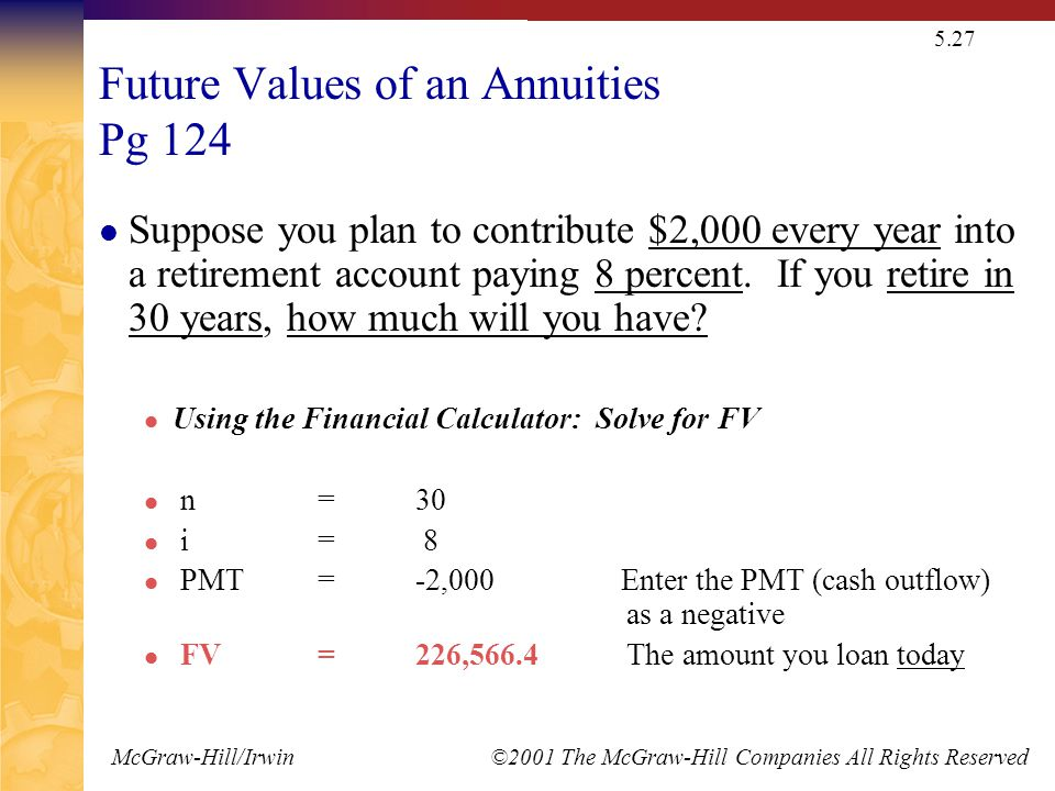 McGraw-Hill/Irwin ©2001 The McGraw-Hill Companies All Rights Reserved 5.27 Future Values of an Annuities Pg 124 Suppose you plan to contribute $2,000 every year into a retirement account paying 8 percent.