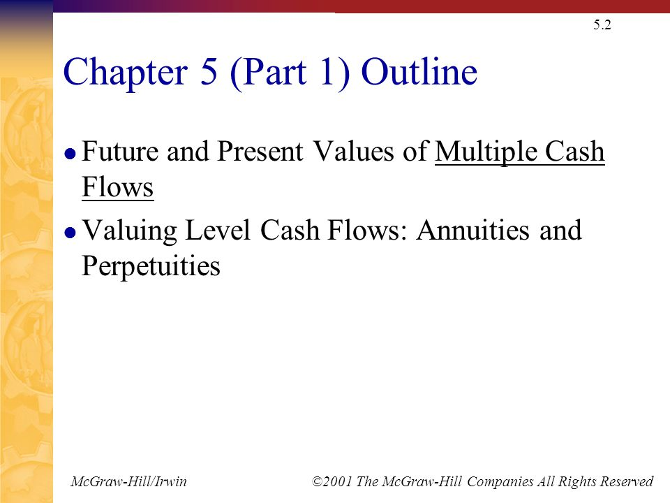 McGraw-Hill/Irwin ©2001 The McGraw-Hill Companies All Rights Reserved 5.2 Chapter 5 (Part 1) Outline Future and Present Values of Multiple Cash Flows