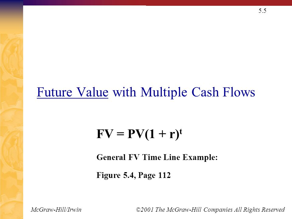 McGraw-Hill/Irwin ©2001 The McGraw-Hill Companies All Rights Reserved 5.5 Future Value with Multiple Cash Flows FV = PV(1 + r) t General FV Time Line Example: Figure 5.4, Page 112