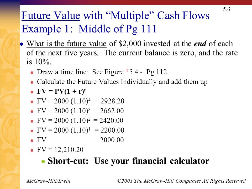 "McGraw-Hill/Irwin ©2001 The McGraw-Hill Companies All Rights Reserved 5.6 Future Value with ""Multiple"" Cash Flows Example 1: Middle of Pg 111 What is"