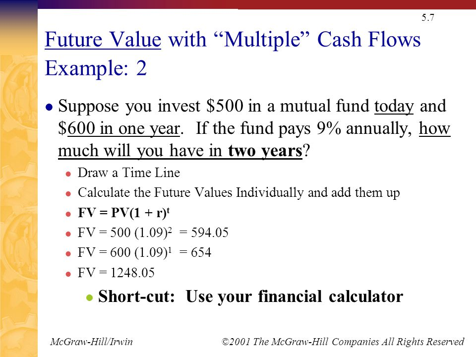 "McGraw-Hill/Irwin ©2001 The McGraw-Hill Companies All Rights Reserved 5.7 Future Value with ""Multiple"" Cash Flows Example: 2 Suppose you invest $500 i"