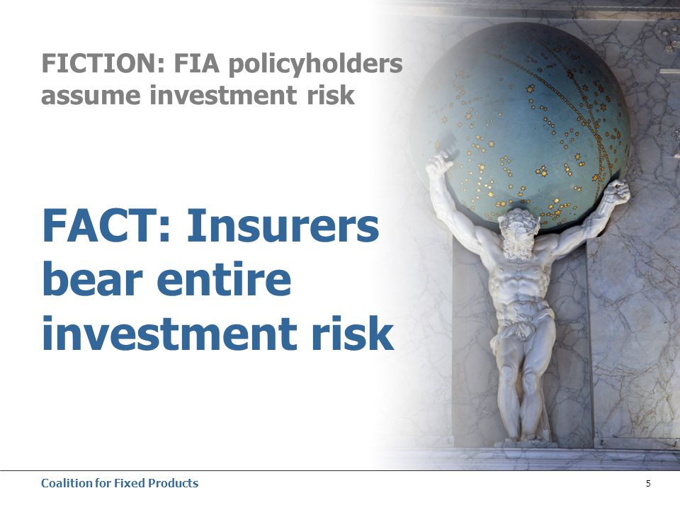 Coalition for Fixed Products 5 FICTION: FIA policyholders assume investment risk FACT: Insurers bear entire investment risk