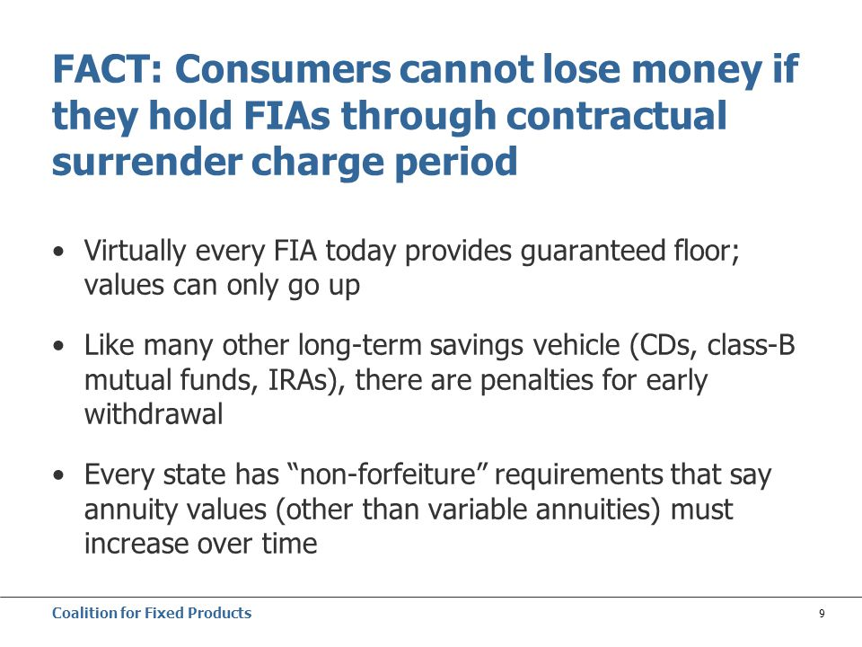 Coalition for Fixed Products 9 FACT: Consumers cannot lose money if they hold FIAs through contractual surrender charge period Virtually every FIA today provides guaranteed floor; values can only go up Like many other long-term savings vehicle (CDs, class-B mutual funds, IRAs), there are penalties for early withdrawal Every state has non-forfeiture requirements that say annuity values (other than variable annuities) must increase over time