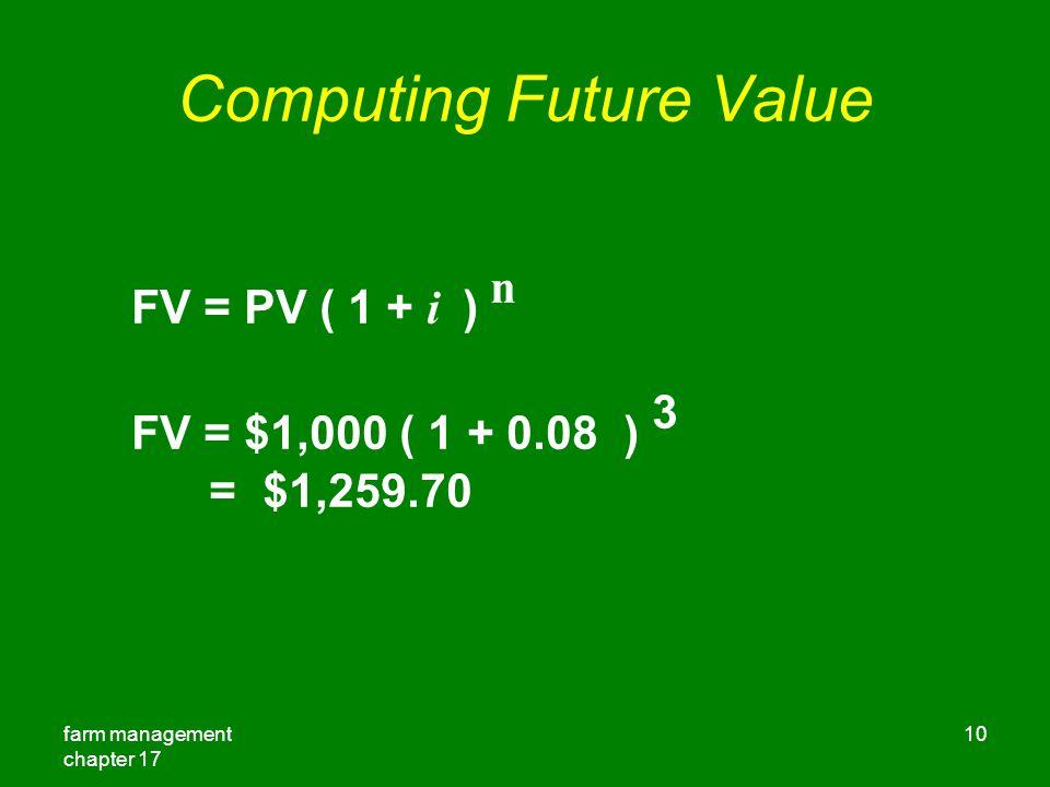 farm management chapter 17 10 Computing Future Value FV = PV ( 1 + i ) n FV = $1,000 ( 1 + 0.08 ) 3 = $1,259.70