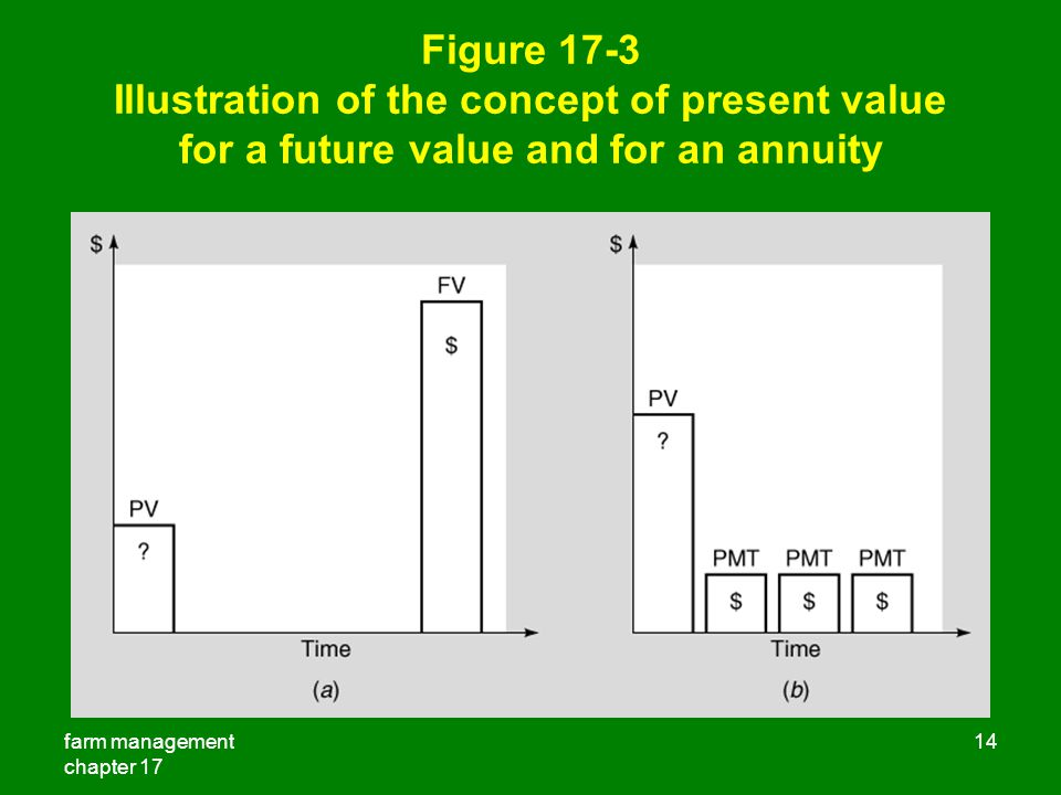 farm management chapter 17 14 Figure 17-3 Illustration of the concept of present value for a future value and for an annuity