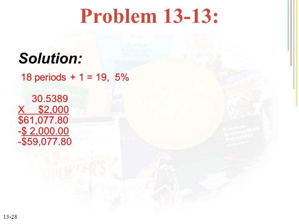 13-28 Problem 13-13: 18 periods + 1 = 19, 5% 30.5389 X $2,000 $61,077.80 -$ 2,000.00 -$59,077.80 Solution: