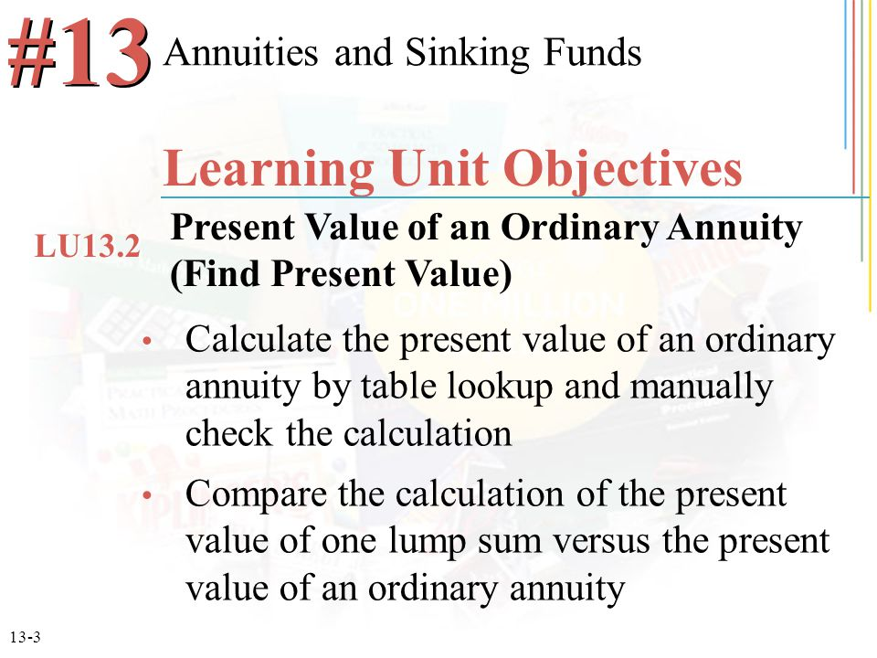 13-14 N = 3 x 1 = 3 R = 8%/1 = 8% 3.2464 x $3,000 $9,739.20 Future Value of an Ordinary Annuity Find the value of an investment after 3 years for a $3,000 ordinary annuity at 8%