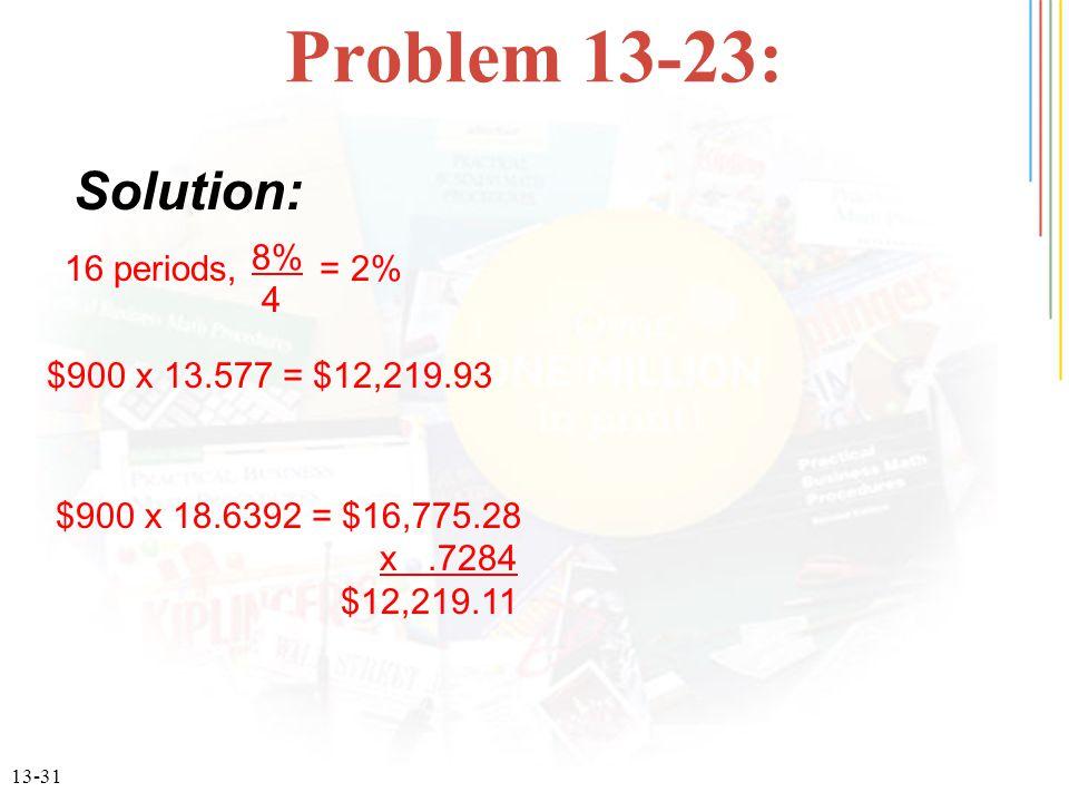 13-31 Problem 13-23: 16 periods, = 2% 8% 4 $900 x 13.577 = $12,219.93 $900 x 18.6392 = $16,775.28 x.7284 $12,219.11 Solution: