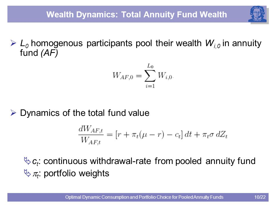 10/22Optimal Dynamic Consumption and Portfolio Choice for Pooled Annuity Funds Wealth Dynamics: Total Annuity Fund Wealth  L 0 homogenous participant