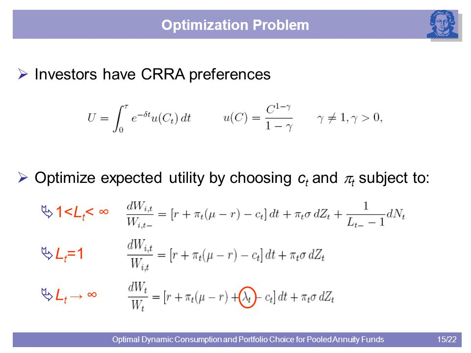 15/22Optimal Dynamic Consumption and Portfolio Choice for Pooled Annuity Funds Optimization Problem  Investors have CRRA preferences  Optimize expected utility by choosing c t and  t subject to:  1<L t < ∞  L t =1  L t → ∞
