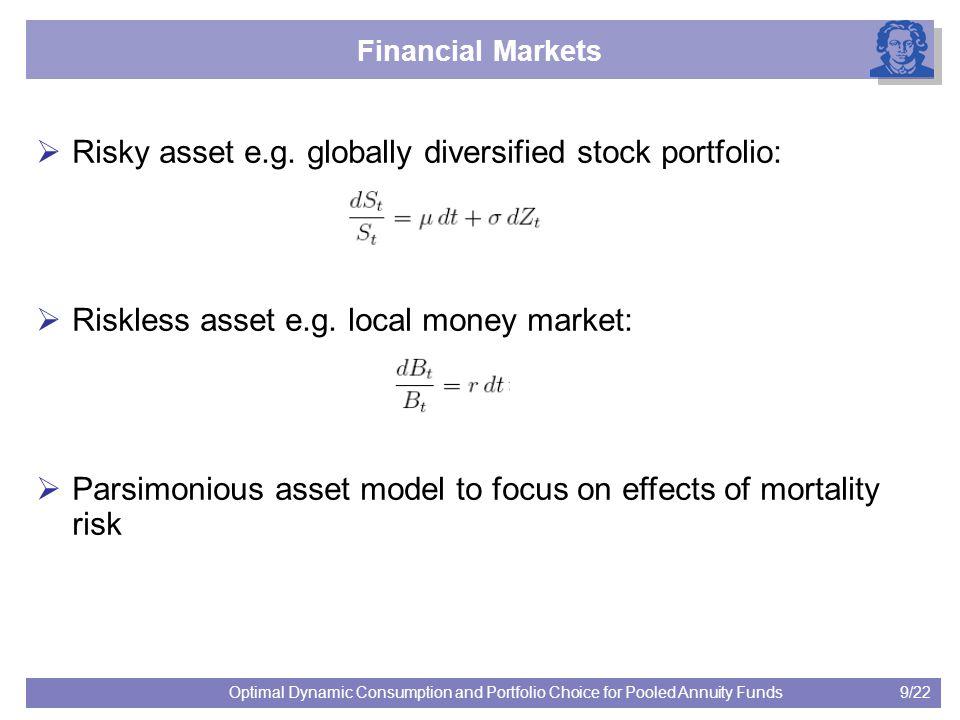  Risky asset e.g.globally diversified stock portfolio:  Riskless asset e.g.