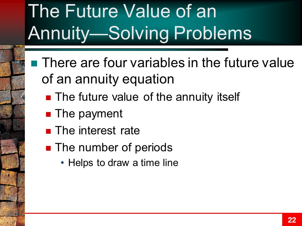22 The Future Value of an Annuity—Solving Problems There are four variables in the future value of an annuity equation The future value of the annuity itself The payment The interest rate The number of periods Helps to draw a time line