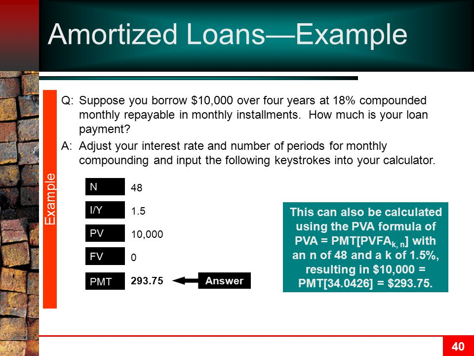 40 Amortized Loans—Example Example PMT N PV I/Y 293.75 48 10,000 1.5 0 FV Answer This can also be calculated using the PVA formula of PVA = PMT[PVFA k, n ] with an n of 48 and a k of 1.5%, resulting in $10,000 = PMT[34.0426] = $293.75.