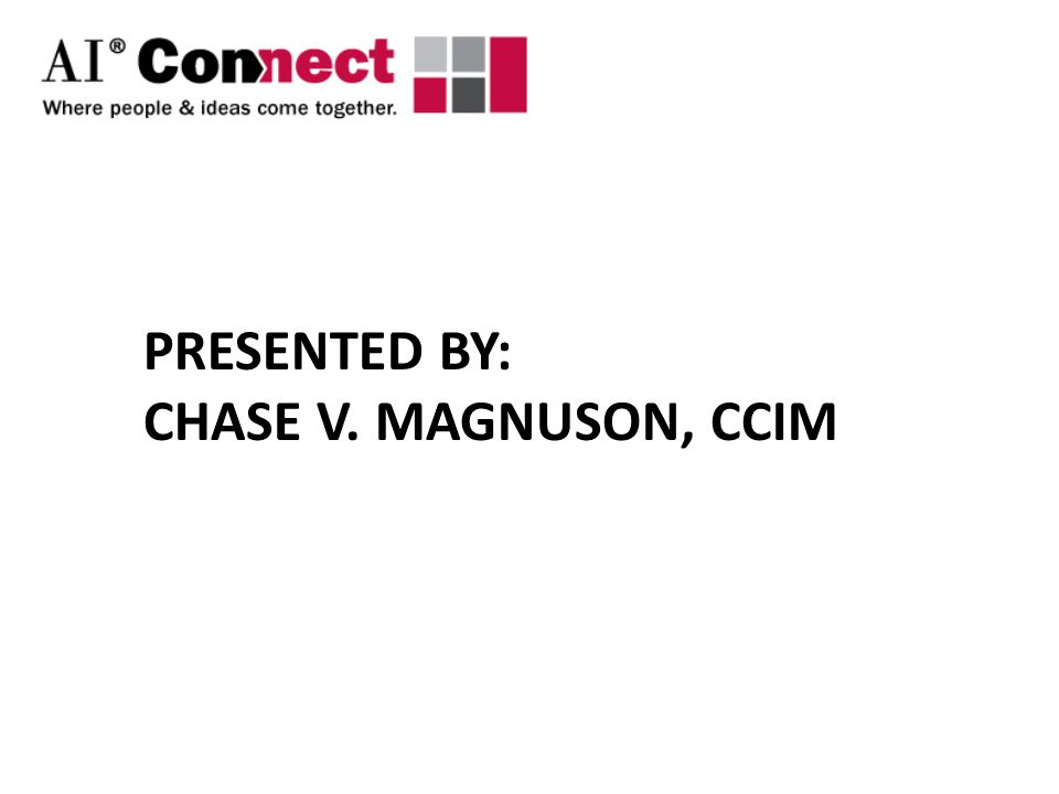 Program Content An overview of the charitable world How real estate equities can be donated The impact on the Donor and the Charity A look at how MAIs may benefit Chase V.