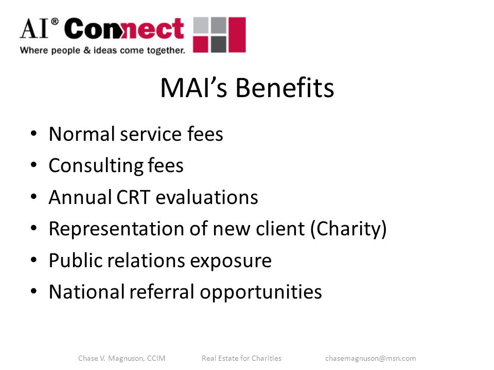 Benefits for the Client / Donor.
