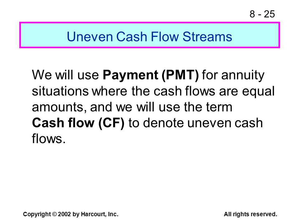8 - 25 Copyright © 2002 by Harcourt, Inc.All rights reserved. Uneven Cash Flow Streams We will use Payment (PMT) for annuity situations where the cash