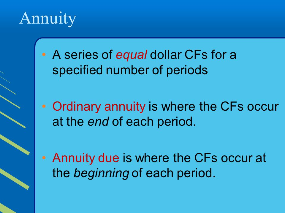Annuity A series of equal dollar CFs for a specified number of periods Ordinary annuity is where the CFs occur at the end of each period.