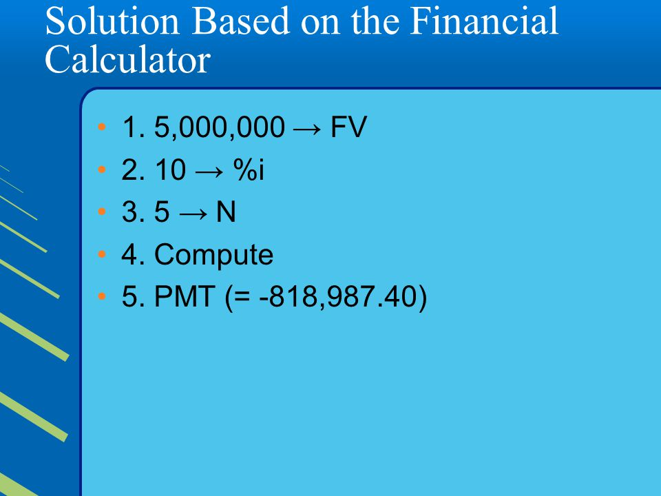 Solution Based on the Financial Calculator 1.5,000,000 → FV 2.