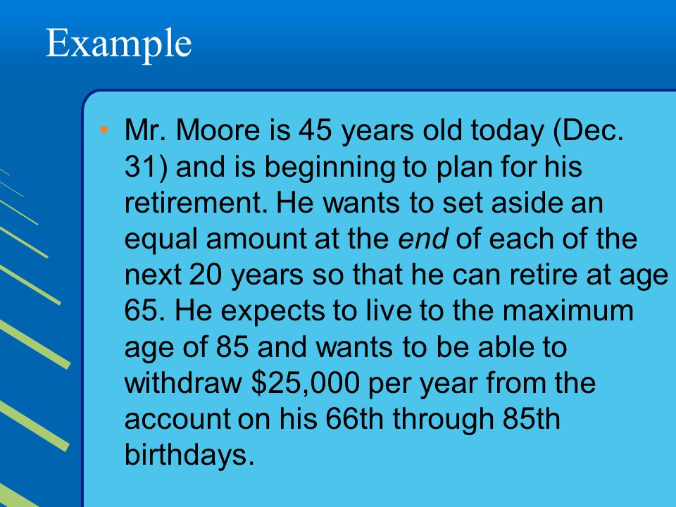 Example Mr.Moore is 45 years old today (Dec. 31) and is beginning to plan for his retirement.