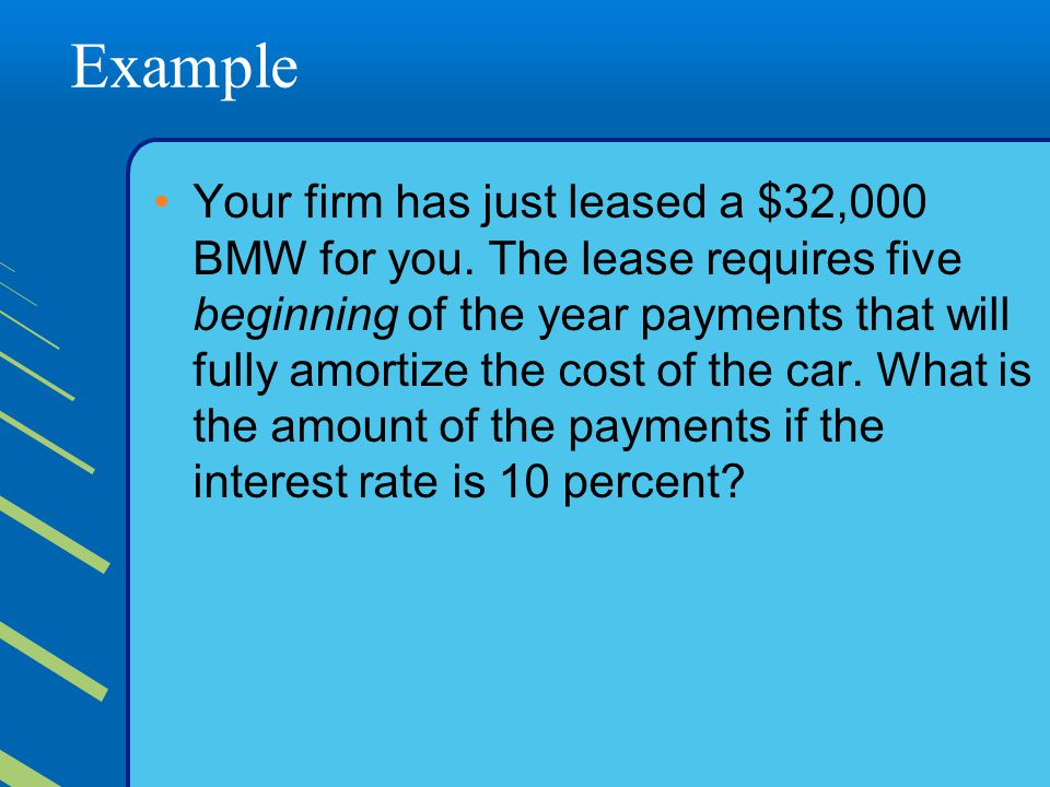 Example Your firm has just leased a $32,000 BMW for you.