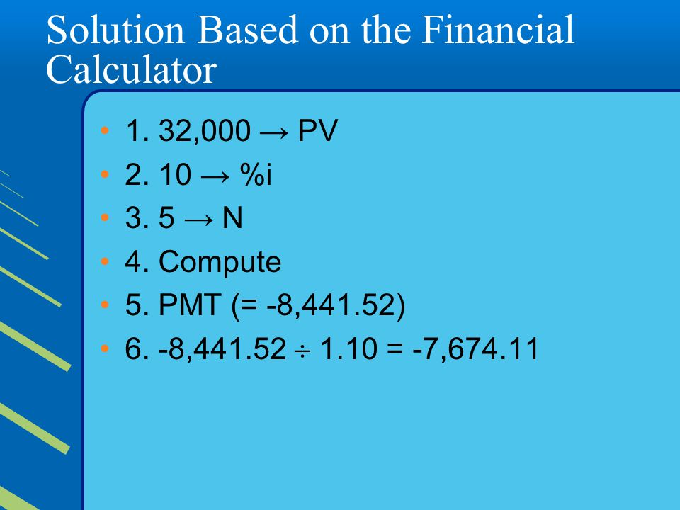 Solution Based on the Financial Calculator 1.32,000 → PV 2.