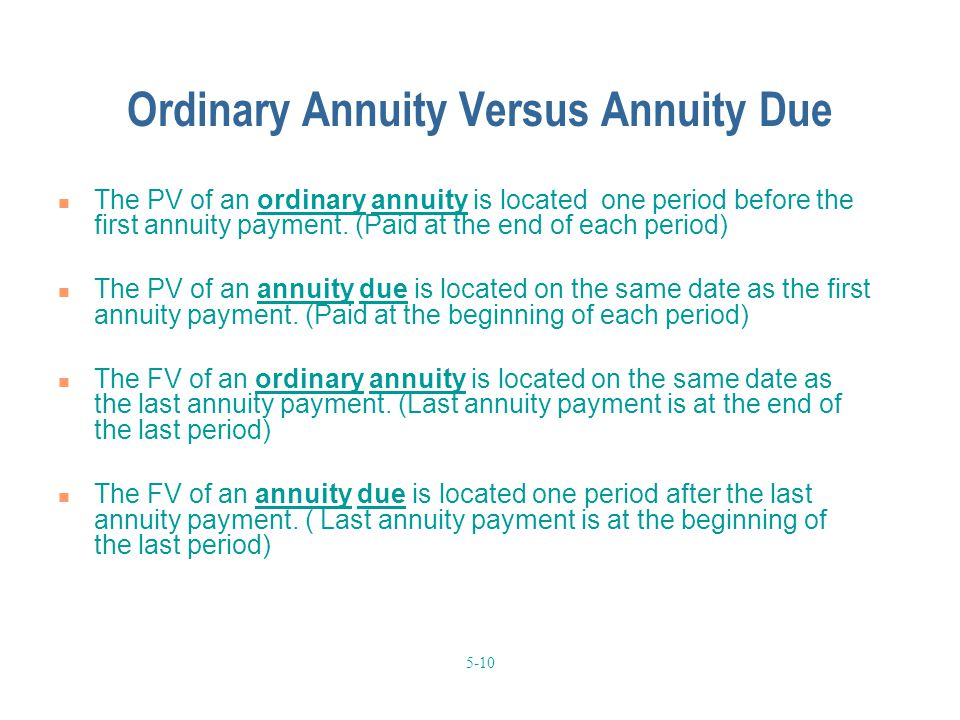 5-10 Ordinary Annuity Versus Annuity Due The PV of an ordinary annuity is located one period before the first annuity payment.