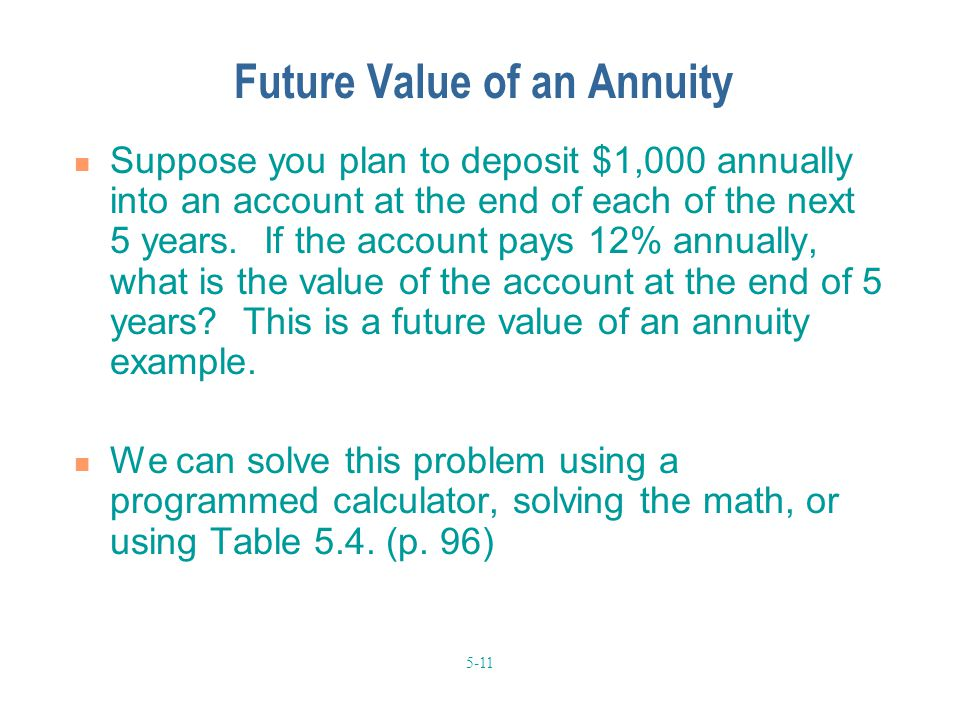 5-11 Future Value of an Annuity Suppose you plan to deposit $1,000 annually into an account at the end of each of the next 5 years. If the account pay